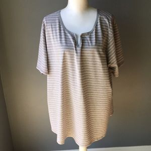 Just My Size Grey/Pink Striped Short Sleeve Tee 5X
